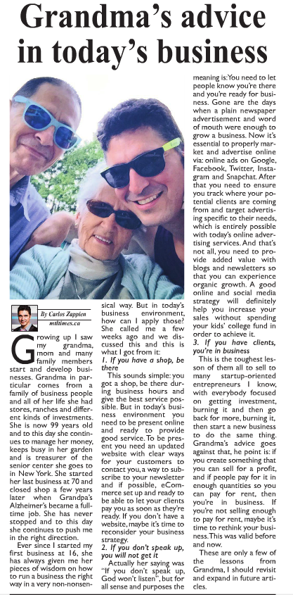 Montreal Times - Grandma's advice in today's business